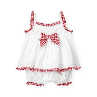 Baby Girl Pure White Gingham Trim Swiss Dot Ensemble at JanieandJack