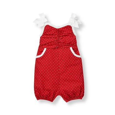 Baby Girl Strawberry Red Dot Ruched Dot One-Piece at JanieandJack