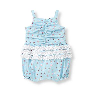 Baby Girl Strawberry Floral Strawberry Ruffle One-Piece at JanieandJack