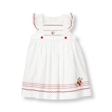 Baby Girl Pure White Strawberry Apron Dress at JanieandJack