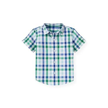 Boys Cobalt Blue Check Checked Seersucker Cuff Shirt at JanieandJack