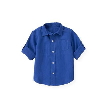 Cobalt Blue Linen Roll Cuff Shirt at JanieandJack