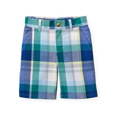 Boys Cobalt Blue Plaid Madras Plaid Short at JanieandJack