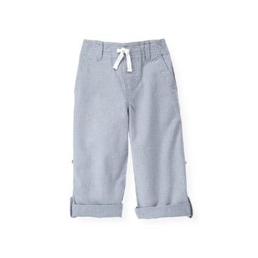 Boys Sunbleached Blue Stripe Roll Cuff Pant at JanieandJack