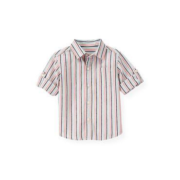 Boys Bleached Coral Stripe Stripe Linen Blend Shirt at JanieandJack