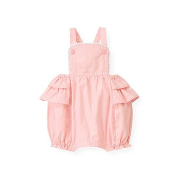 Baby Girl Pink Candy Dot Ruffle Dotted Shortall at JanieandJack
