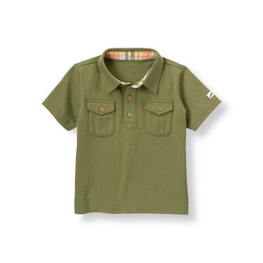 Boys Olive Green Safari Polo Shirt at JanieandJack