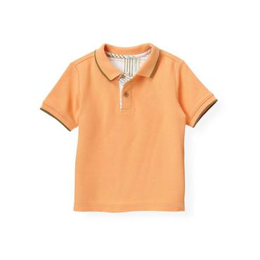 Boys Tropic Orange Tipped Polo Shirt at JanieandJack