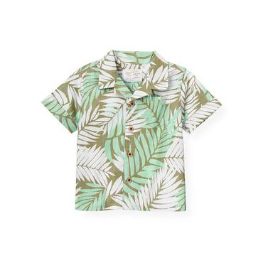 Green Palm Palm Print Shirt at JanieandJack
