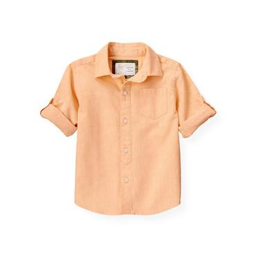 Tropic Orange Linen Roll Cuff Shirt at JanieandJack