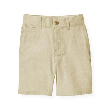Boys Khaki Glen Plaid Linen Blend Short at JanieandJack