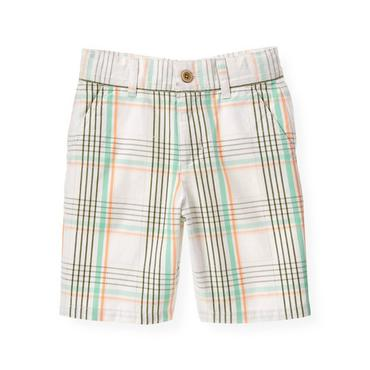 Boys Green Palm Plaid Plaid Dobby Short at JanieandJack