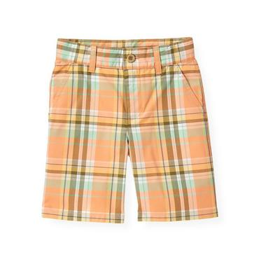 Boys Tropic Orange Plaid Plaid Short at JanieandJack