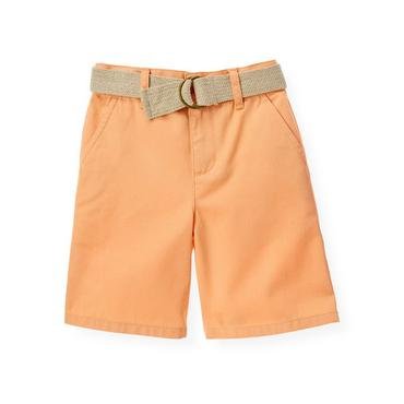 Boys Tropic Orange Belted Twill Short at JanieandJack
