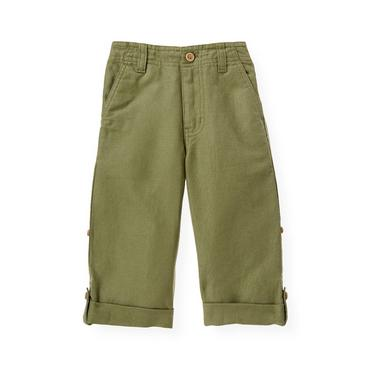 Boys Olive Green Linen Blend Roll Cuff Pant at JanieandJack