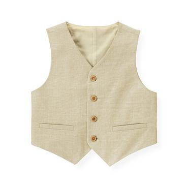 Khaki Glen Plaid Linen Blend Vest at JanieandJack