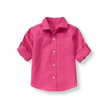Magenta Linen Roll Cuff Shirt at JanieandJack