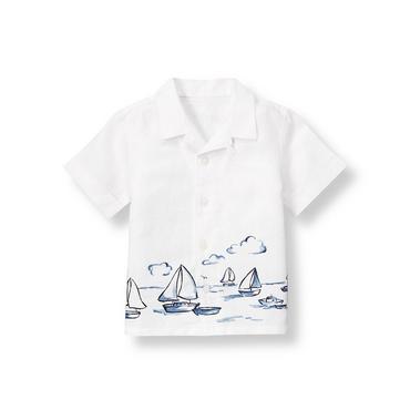 Pure White Sailboat Linen Shirt at JanieandJack