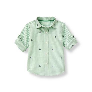 Nautical Green Stripe Embroidered Anchor Stripe Roll Cuff Shirt at JanieandJack