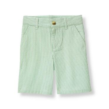 Boys Nautical Green Stripe Stripe Seersucker Short at JanieandJack