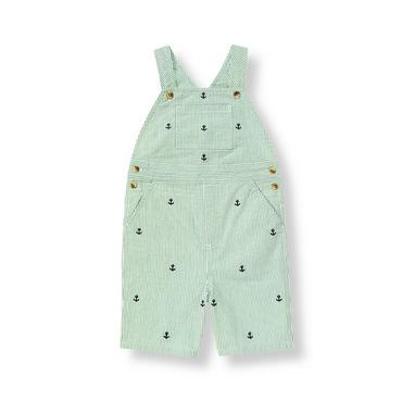 Boys Nautical Green Stripe Embroidered Anchor Stripe Shortall at JanieandJack