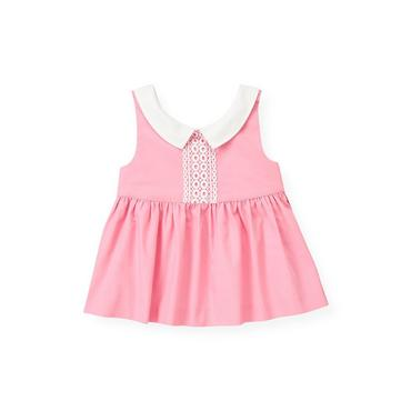 Flamingo Pink Lace Trim Top at JanieandJack
