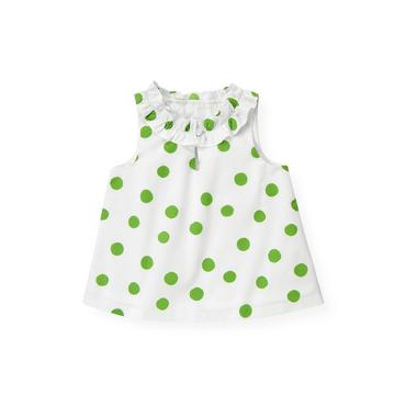 Palm Green Dot Ruffle Neck Dot Top at JanieandJack