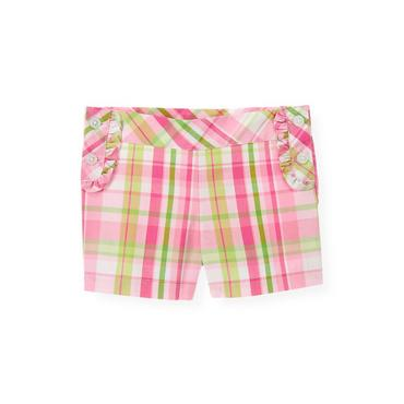 Azalea Pink Plaid Ruffle Plaid Short at JanieandJack