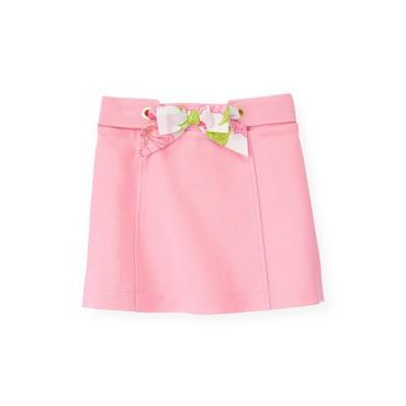 Flamingo Pink Floral Sash Ponte Skirt at JanieandJack