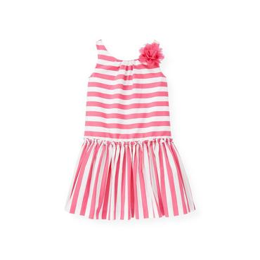 Flamingo Pink Stripe Corsage Stripe Dress at JanieandJack