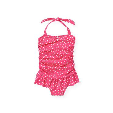 Azalea Pink Dot Ruched Dot Swimsuit at JanieandJack