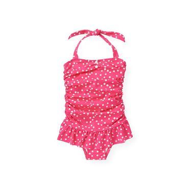 Azalea Pink Dot Ruched Dot Swimsuit at JanieandJack
