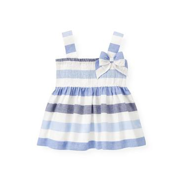 Washed Sea Blue Stripe Stripe Linen Blend Top at JanieandJack