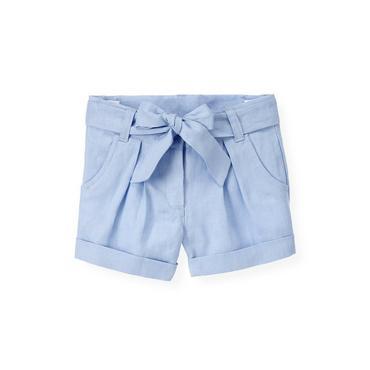 Sea Blue Linen Cuffed Short at JanieandJack