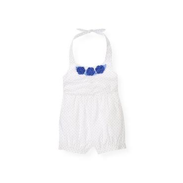 Pure White Dot Crochet Flower Dot Halter Romper at JanieandJack