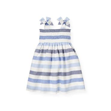 Washed Sea Blue Stripe Stripe Linen Blend Dress at JanieandJack