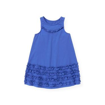 Coastal Blue Ruffle Racer Back Knit Dress at JanieandJack