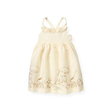 Cream Giraffe Embroidered Ruffle Dress at JanieandJack