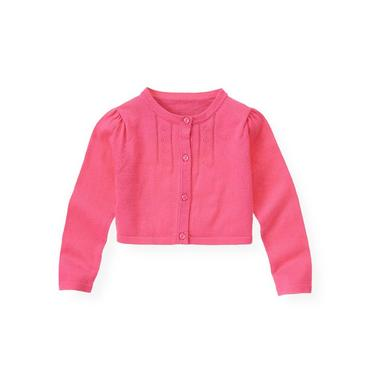 Orchid Pink Pointelle Crop Cardigan at JanieandJack