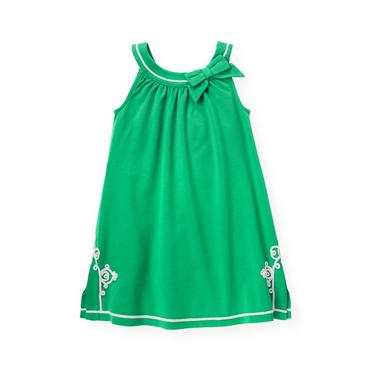 Emerald Green Embroidered Knit Dress at JanieandJack