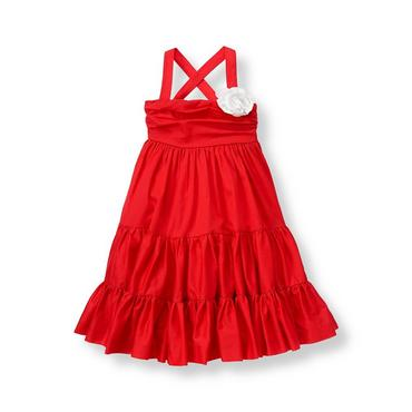 Vivid Red Flower Corsage Tiered Dress at JanieandJack