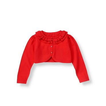 Vivid Red Ruffle Crop Cardigan at JanieandJack