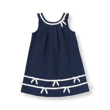 Classic Navy Bow Ponte Tank Dress at JanieandJack