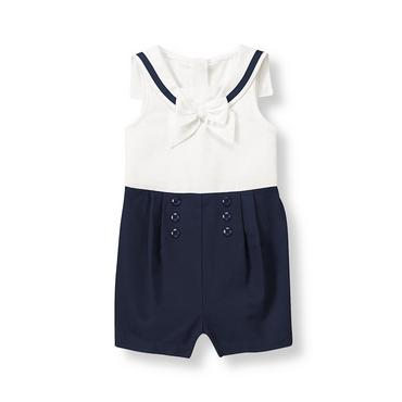 Classic Navy Stripe Bow Sailor Romper at JanieandJack