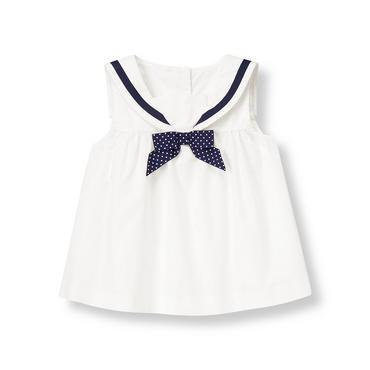 Pure White Bow Sailor Top at JanieandJack