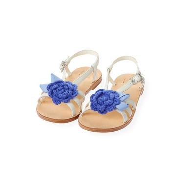 Pure White Crochet Flower Leather Sandal at JanieandJack