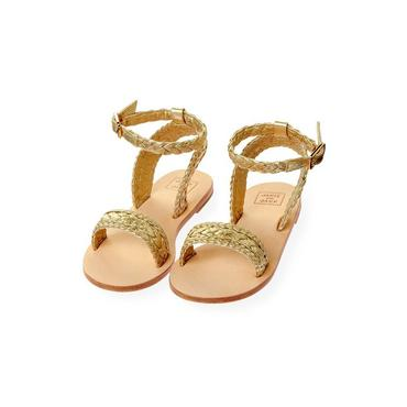Metallic Gold Braided Metallic Leather Sandal at JanieandJack