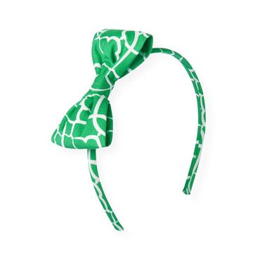 Emerald Green Tile Print Bow Headband at JanieandJack