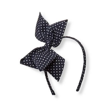 Classic Navy Dot Dot Bow Headband at JanieandJack