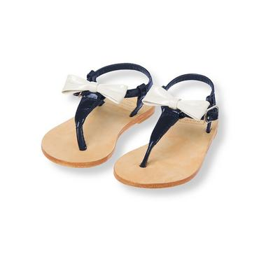 Classic Navy Patent Leather T-Strap Sandal at JanieandJack